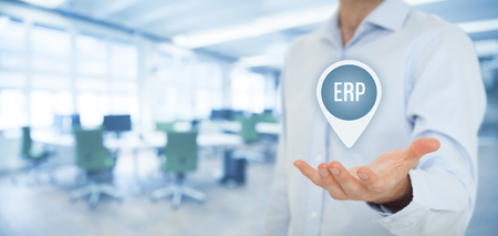 to interpret: Enterprise resource planning ERP concept. Businesswoman offer ERP business management software for collect, store, manage and interpret business data.