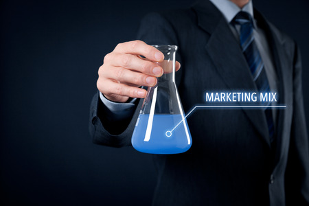 Marketing mix (product, price, place, promotion) concept. Marketer mix optimal marketing mix.