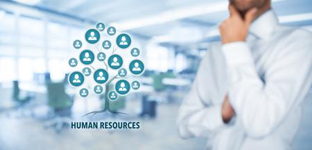 Les ressources humaines (RH) de concept. Les ressources humaines sont une racine d'un arbre dans les relations avec les clients. Les clients représentés par des icônes.