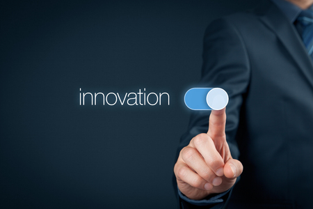 innovation concept: Innovation in business concept. Businessman (mentor, coach) switch over innovative business and marketing. Stock Photo
