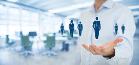 Human resources pool, customer care, care for employees, labor union, employment agency and marketing segmentation concepts. Gesture of businessman or personnel and icons representing group of people. Wide banner composition with office in background. Standard-Bild