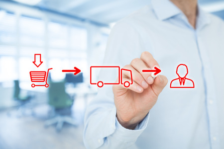 물류 체인 개념입니다. 고객의 방식에 운송을 통해 고객의 쇼핑 (구매) (배달,화물)에서. 배경 사무실.
