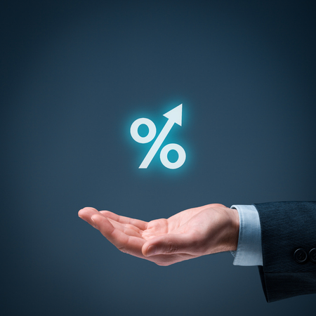 revenue: Percentage growth concept - symbol of increasing revenue, profit, EBIT and another positive growth in business.