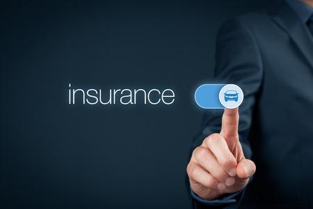 automobile insurance: Car (automobile) insurance and collision damage waiver concepts. Businessman (or insurance agent) switch over car insurance. Stock Photo