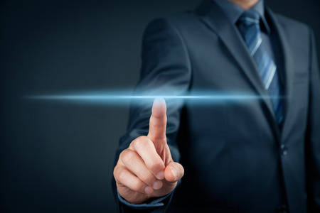 hand pointing: Businessman click on virtual touchscreen. Futuristic business and IT presentation background.