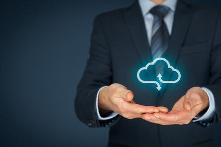 technologist: Cloud computing service concept - connect to cloud. Businessman offering cloud computing service represented by icon. Stock Photo