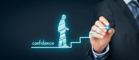 신뢰 (자신감) 개선 개념입니다. 코치 나 멘토는 신뢰를 높이기 위해 도움의 상징으로 계단을 그립니다.