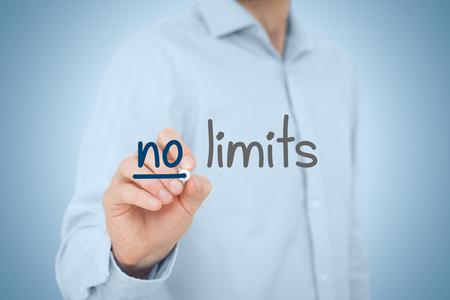 no limits: No limits - self-confidence improvement and motivational concepts. Stock Photo