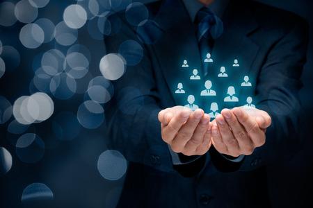 Service à la clientèle, les soins pour les employés, les ressources humaines, l'assurance-vie, agence de l'emploi et des concepts de segmentation marketing.