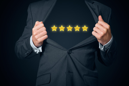 boastful: Confidential top class business star. Boastful businessman with opened suit and 5 stars instead body.