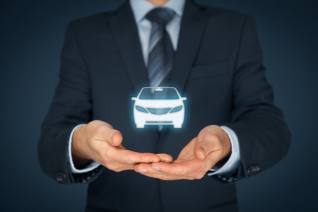 automobile insurance: Car (automobile) insurance and car services concept. Businessman with offering gesture and icon of car. Stock Photo