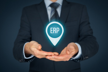 business software: Enterprise resource planning ERP concept. Businessman offer ERP business management software for collect, store, manage and interpret business data.