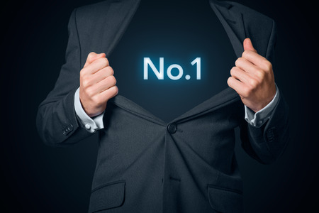 no1: Confidential business star no.1. Boastful businessman with opened suit and text no.1 instead body.