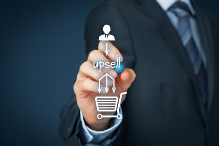 profitable: Upsell on-line (e-shop) marketing concept. Sales technique for more profitable sale. Businessman add upsell in buying process.