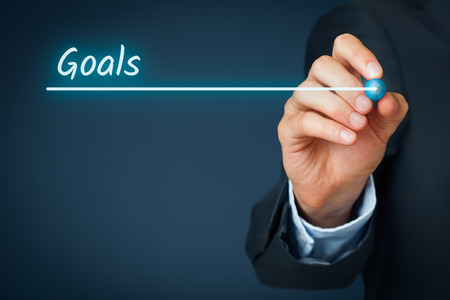 slide show: Businessman plan goals for its business. Background for business slide show for presentations. Stock Photo