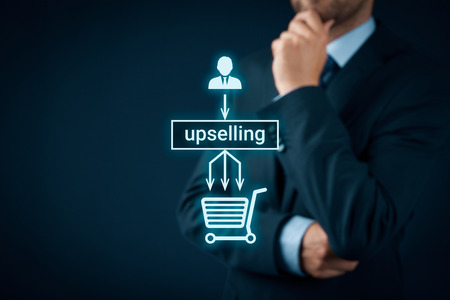 one item: Upselling on-line (e-shop) marketing concept. Sales technique for more profitable sale. Businessman or marketing specialist think about upselling - from customers one item in shopping cart to three. Stock Photo