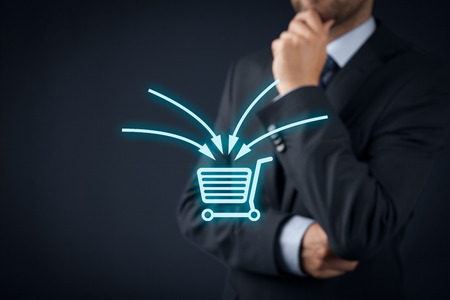 to think about: E-commerce marketing concept. Marketing specialist think about upselling, cross-selling and another sales technique used in e-commerce for more profitable sales. Stock Photo