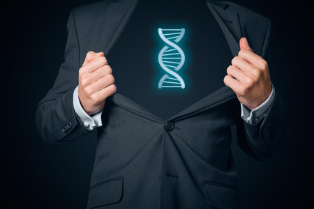 Businessman shows he has genes (talent, natural ability, aptitude) for business (represented by DNA symbol), central composition.