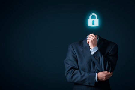 personal data: Privacy policy and personal data concepts. Businessman with symbol of a padlock instead of a head.
