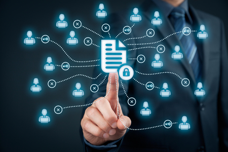 Corporate data management system (DMS) and document management system with privacy theme concept. Businessman click (or publish) on protected document connected with users, access rights symbolized by key.