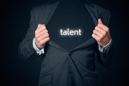 talent: Talented businessman (manager). Boastful businessman with opened suit and text talent instead body. Stock Photo