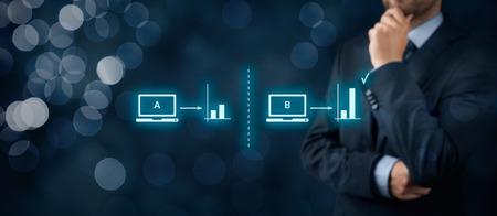 A / B concept de split testing. Marketing ou d'un spécialiste SEO pensent des tests A / B split. Banque d'images - 53492731