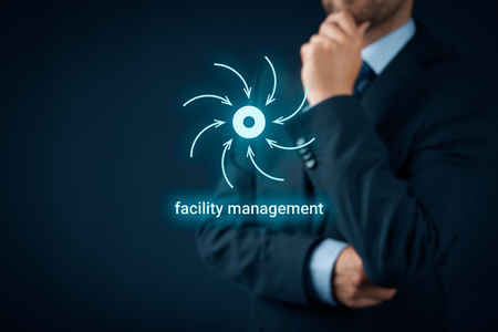 to think about: Facility management concept. Businessman think about facility management and core of business. Stock Photo