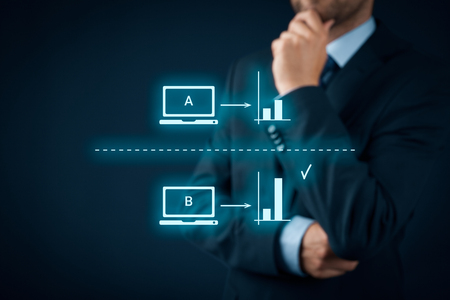 AB split testing concept. Marketing or SEO specialist think about AB split testing. Stock Photo