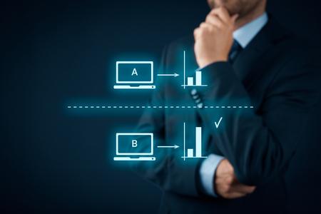 AB split testing concept. Marketing or SEO specialist think about AB split testing. Zdjęcie Seryjne