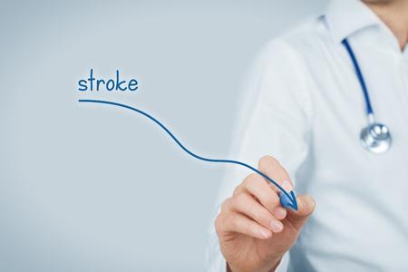 Die Reduktion der Inzidenz von Hirnschlag und Schlaganfall-Prävention Konzept. Arzt (Arzt) zeichnen Graph der Inzidenz von Schlaganfällen absteigt.