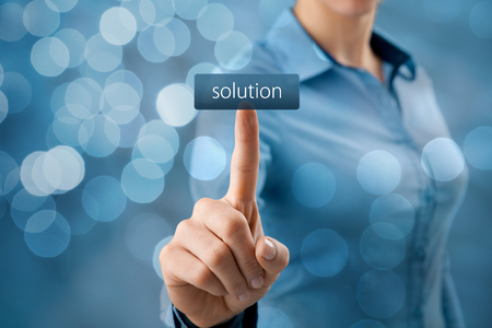 Get solution concept. Businesswoman click on virtual button with text solution (look for easy solutions).