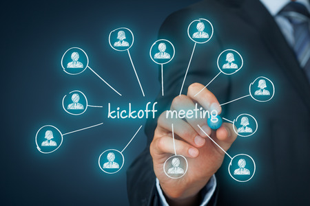 kickoff: Kickoff meeting concept. Scheme illustrating first meeting with the project team and the client of the project.