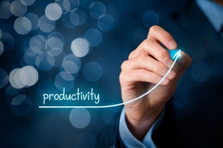 productivity: Manager (businessman, coach, leadership) plan to increase company productivity, bokeh in background.