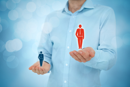 VIP customer concept. Businessman hold preferred customer (client) in one hand, less important customer (client) in another hand. Stock Photo