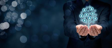 La atención al cliente, la atención de los empleados, recursos humanos, seguros de vida, bolsa de trabajo y los conceptos de segmentación de marketing.