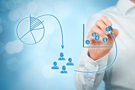 Marketing-Positionierung und Marketing-Strategie - Segmentierung, Targeting und Positionierung. Visualisierung der Positionierung im Markt und ähnliche Situationen auf dem Markt. Standard-Bild