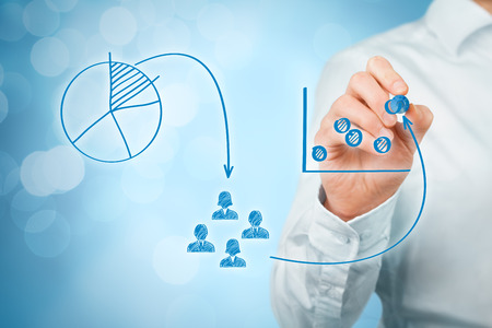positioning: Marketing positioning and marketing strategy - segmentation, targeting, and positioning. Visualization of marketing positioning and similar situations on market. Stock Photo
