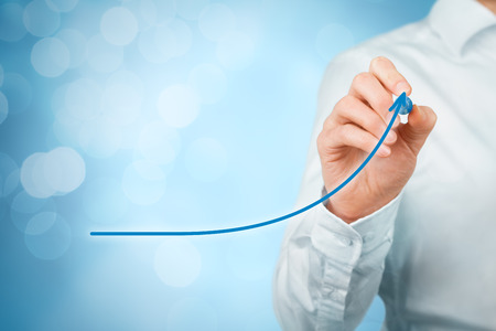 business like: Development, growth and improvement concepts. Businessman plan growth and increase of positive indicators in his business, like efficiency, productivity, rating, revenue and success.