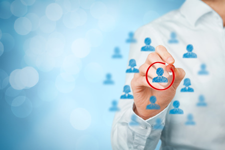 Marketing segmentation and targeting, personalization, individual customer care (service), customer relationship management (CRM) and leader recruit concepts.