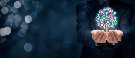 Kundenbetreuung, Betreuung von Mitarbeitern, Personalwesen, Lebensversicherung, Arbeitsagentur und Marketing Segmentierung Konzepte.