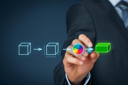 Product customization concept. Businessman draw process of customer customized product. Stockfoto