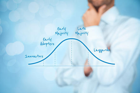 Innovation adoption lifecycle concept. Businessman think about diffusion of innovations and utilization for its business. Stock Photo