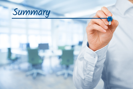 present presentation: Summary heading - background template for business presentation. Office in background.