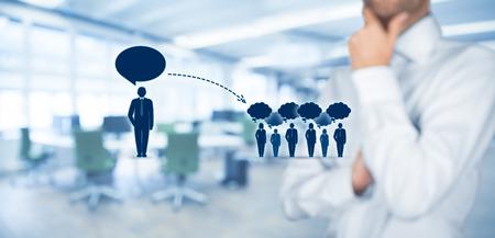 Influencer, Meinungsführer, Teamleiter, Geschäftsführer und andere Unternehmen führende Konzepte. Opinion Leader (zB Politiker) hat die Macht zu beeinflussen Meinung Masse von Menschen vor allem Kunden. Standard-Bild
