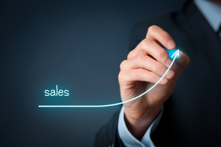sales growth: Increase company sales concept. Businessman plan sales growth.