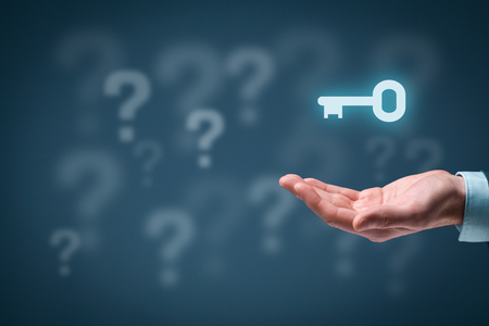 an answer: Businessman or consultant give you a business solution represented by key. Question marks in background representing business problems and opportunities.