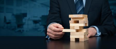 Metafoor van de risico's in het bedrijfsleven. Stockfoto