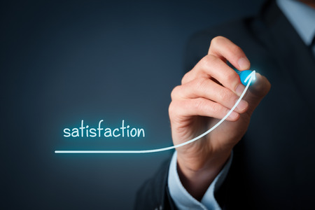 increase business: Increase satisfaction in business - customer satisfaction and job satisfaction concept. Businessman (marketing specialist) draw growing line symbolize growing satisfaction.