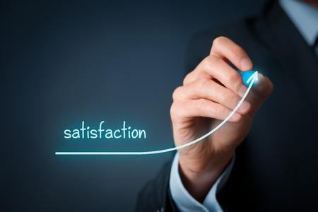 job satisfaction: Increase satisfaction in business - customer satisfaction and job satisfaction concept. Businessman (marketing specialist) draw growing line symbolize growing satisfaction.
