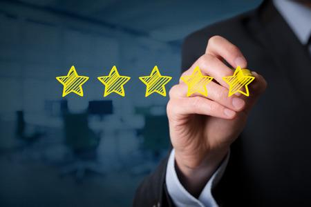 Review, augmenter note, la performance et le concept de classification. Banque d'images